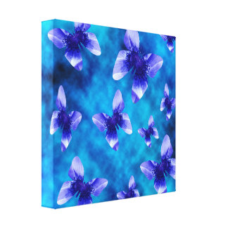 Blue Butterflies Made With Blue Poppies, Canvas Print