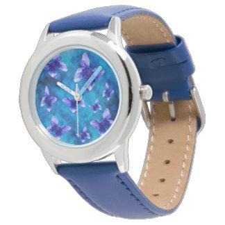 Blue Butterflies Of Summer, Kids Leather Watch