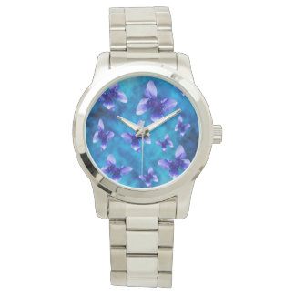 Blue Butterflies Of Summer, Large Unisex Watch