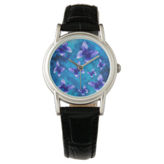 Blue Butterflies Of Summer, Leather Watch