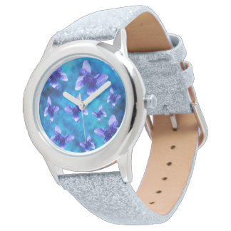 Blue Butterflies Of Summer, Silver Glitter Watch