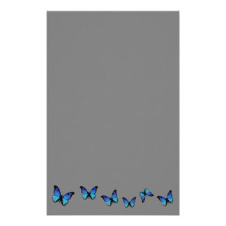 blue butterflies on silver background stationery