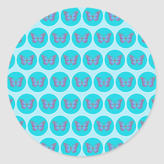 Blue butterflies pattern round sticker