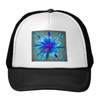 Blue Butterflies Tropical Flower Gifts Trucker Hat