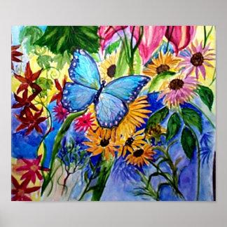 Blue Butterflly's Garden Poster