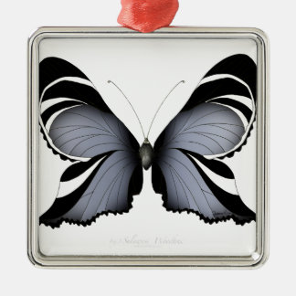 Blue Butterfly 3 Sulawesi Woodtree Metal Ornament