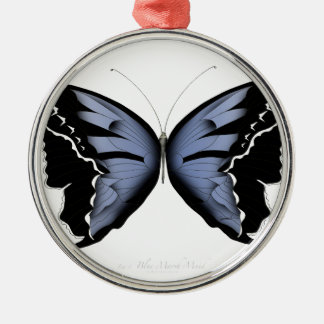 Blue Butterfly 4 Blue Marsh Maid Metal Ornament