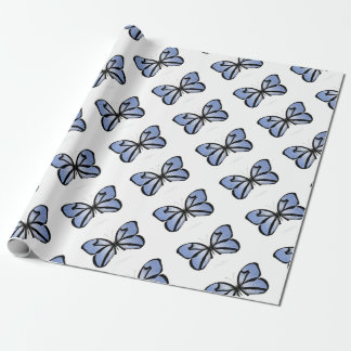 Blue Butterfly 5 Giant Blue Vane Wrapping Paper