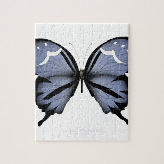Blue Butterfly 6 Small Diamond Blue Jigsaw Puzzle
