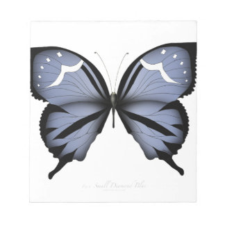 Blue Butterfly 6 Small Diamond Blue Notepad
