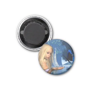 Blue Butterfly and Water Nymph - 2 Magnet
