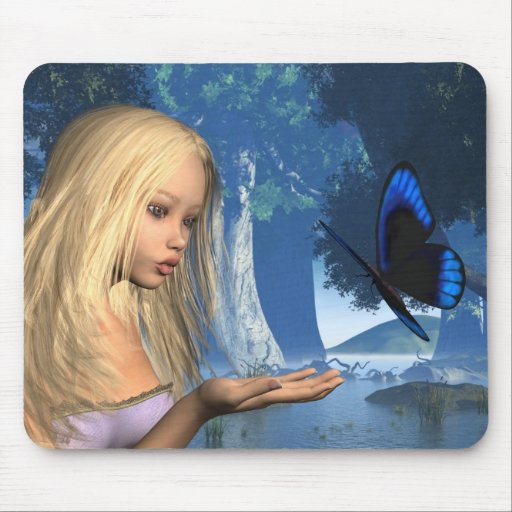 Blue Butterfly and Water Nymph - 2 Mouse Pads