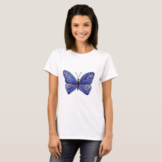 Blue Butterfly Art Women's Basic T-Shirt, White T-Shirt