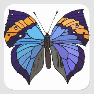 Blue butterfly beautiful cute trendy square sticker