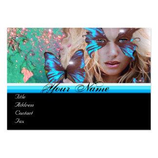 BLUE BUTTERFLY BEAUTY MAKEUP ARTIST monogram green Large Business Card