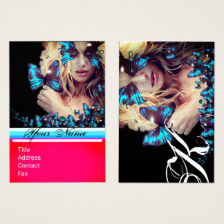 BLUE BUTTERFLY BEAUTY SALON,MAKEUP ARTIST monogram Business Card