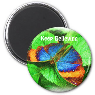 Blue Butterfly Believe Affirmations Magnet