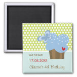 Blue Butterfly Cupcake Cute Birthday Save The Date Square Magnet