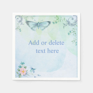 Blue Butterfly Disposable Napkin