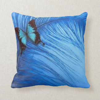 blue butterfly feather throw pillow