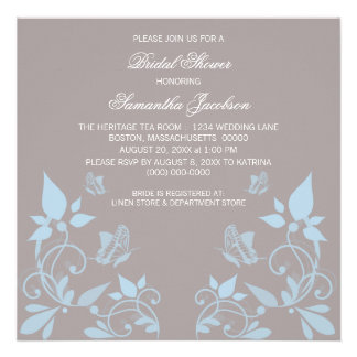 Blue Butterfly Floral Bridal Shower Invite