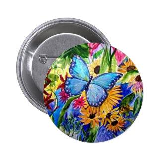 Blue Butterfly Garden 2 Inch Round Button
