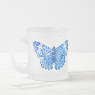 Blue Butterfly Glass Mug