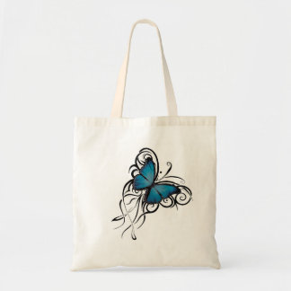 Blue Butterfly Grunge Budget Tote Bag