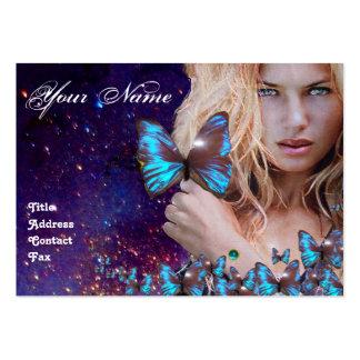 BLUE BUTTERFLY HAIR BEAUTY MAKEUP ARTIST monogram Large Business Card