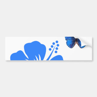 Blue Butterfly Hibiscus design Bumper Sticker