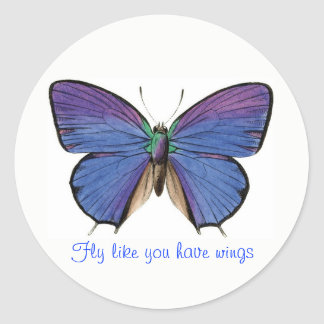 Blue Butterfly Inspirational Classic Round Sticker