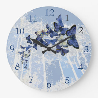 Blue Butterfly kaleidoscope flight Large Clock