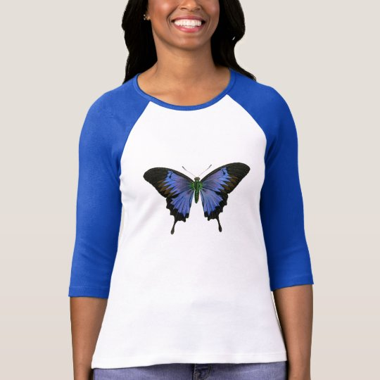 Blue Butterfly Ladies 3/4 Sleeve Raglan T-Shirt