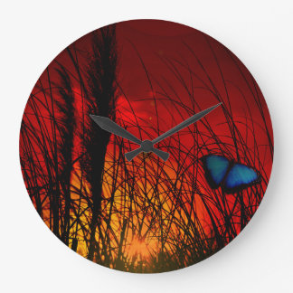 Blue Butterfly Large Clock