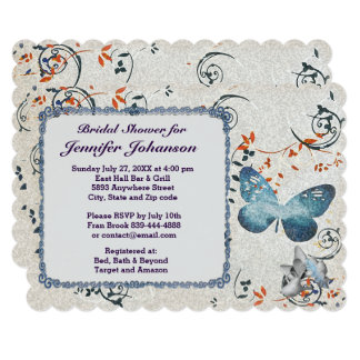 Blue Butterfly & Leaf Swirls Bridal Shower Invite