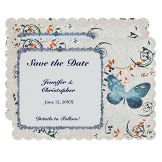 Blue Butterfly & Leaf Swirls Save the Date Card