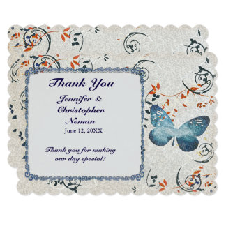 Blue Butterfly & Leaf Swirls Thank You Card