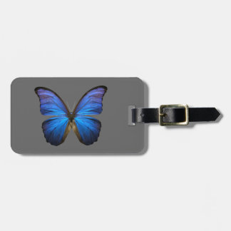 blue butterfly luggage tag