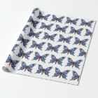 'Blue Butterfly' Matte Wrapping Paper