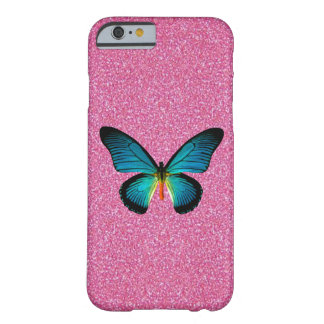 Blue Butterfly On Pink Glitter iPhone 6 Case