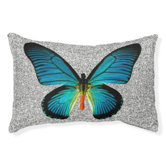 Blue Butterfly On Silver Glitter Dog Bed