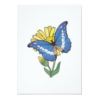 blue butterfly on sunflower custom invitations
