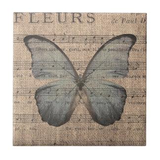 Blue Butterfly on Vintage Sheet Music Tile