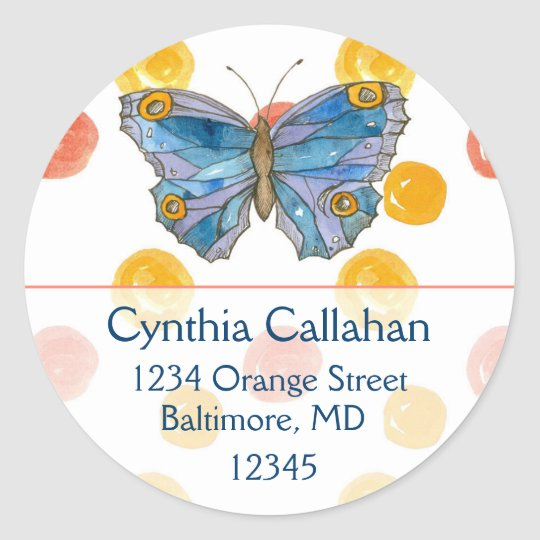 Blue Butterfly Orange Dots Return Address Classic Round Sticker