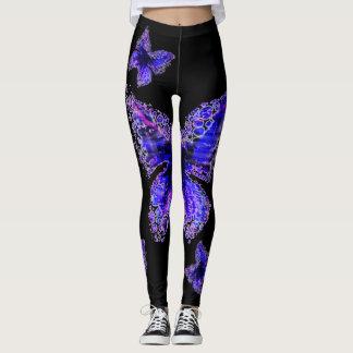Blue Butterfly pattern elegant design , Leggings