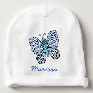 Blue Butterfly Personalized Baby Beanie