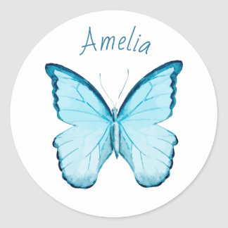 Blue butterfly personalized name template sticker
