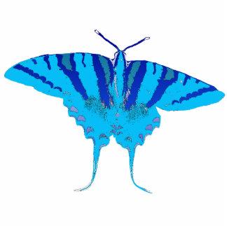 Blue Butterfly Pin Photo Sculpture Button