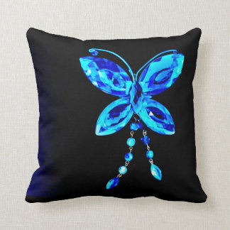 Blue Butterfly Prism Throw Pillow