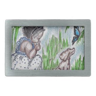 Blue butterfly rectangular belt buckles